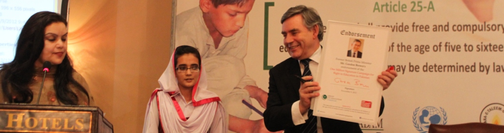 Gordon Brown endorsing One Million Signature campaign for Right to Education