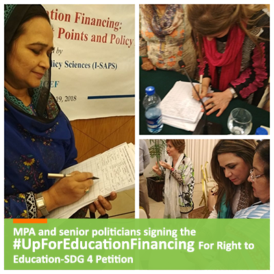 MPA and senior politicians signing the#UpForEducationFinancing For Right to Education-SDG 4 Petition