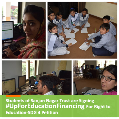 Students of Sanjan Nagar Trust are Signing #UpForEducationFinancing For Right to Education-SDG 4 Petition